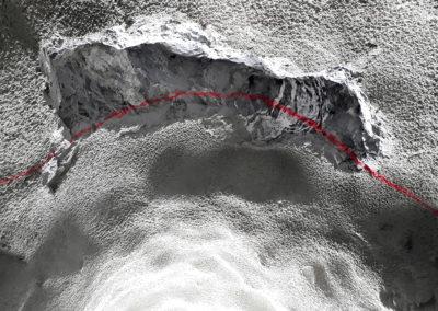 Sprengtechnisch ausgebrochener Keil in bestehendem Profil